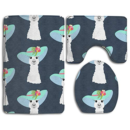 (XiuuJing Llama in Hat Seamless Pattern Bathroom Rug Mats Set 3 Piece- Memory Foam Extra Soft Shower Bath Rugs ¨C Contour Mat and Lid Cover -(20