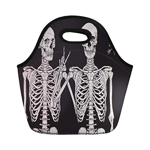 Semtomn Lunch Tote Bag Skull Human Skeletons Best Friends Posing Over Drawn Hand Reusable Neoprene Insulated Thermal Outdoor Picnic Lunchbox for Men -
