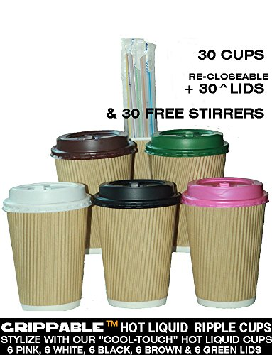 GRIPPABLE? RIPPLE Paper Cups INSULATED HOT/COLD 12OZ CUPS, LIDS & STIRRERS Disposable 30PAK - LOCKTITE RE-CLOSEABLE TAB LIDS - Grip EASY - NO LEAKS, NO SLEEVES - ECO-SMART - HOME OFFICE BANQUETS