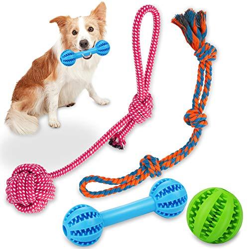 Wimypet 4PCS Hund Kauspielzeug, Hundeball, HundSpielzeug Seil für Zahnreinigung, Welpenspielzeug Hundefutter Treat…