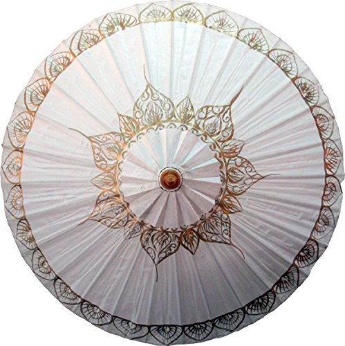 Painted Hand Umbrellas (Oriental-Decor White Traditional Thai Hand Painted Umbrella)