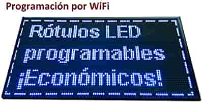 Cartel LED PROGRAMABLE (96x48 cm + WiFi, Azul) Letrero LED ...