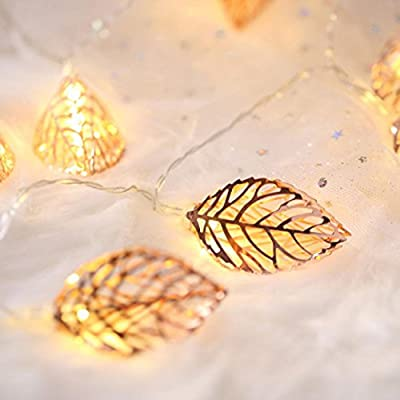 Liping Solar Rose Gold Leaves String Lights Camping Hanging LED Light Hanging Indoor/Outdoor String Lights, Ideal as Night Lights,Home Gift Idea
