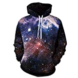 WOCACHI Mens Hoodies 3D Universe Pullover Unisex Hooded Couples Slim Sweatshirt Clearance Sale Promotion Deal Autumn Winter Warm Tops Blouses Shirts