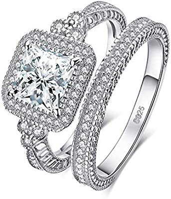 Jewelrypalace 0 3ct 1ct 2ct Princess Cut Cubic Zirconia Engagement