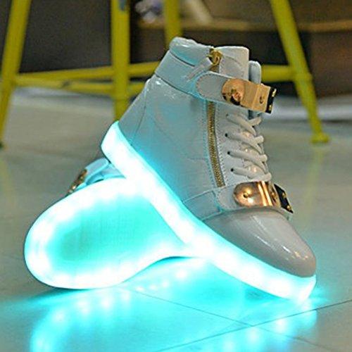 (Present:kleines Handtuch)JUNGLEST® 7 Farben, die USB-Lade-LED Aufleuchten-blinkende Sportschuhe High Top Sneakers Luminou Weiß
