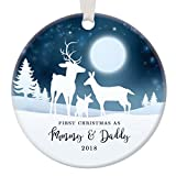 1st Christmas as Mommy & Daddy 2018, New Parents Ornament, Deer Family Porcelain Ornament, 3'' Flat Circle Christmas Ornament with Glossy Glaze, White Ribbon & Free Gift Box | OR00037 Curtis