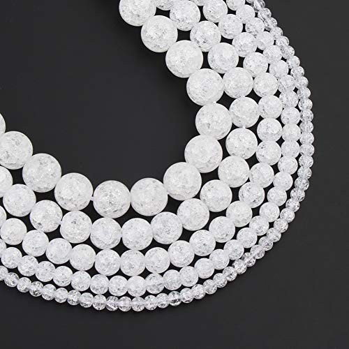 Yochus 6mm White Snow Cracked Crystal Round Loose Beads Natural Stone Beads for Jewelry Making