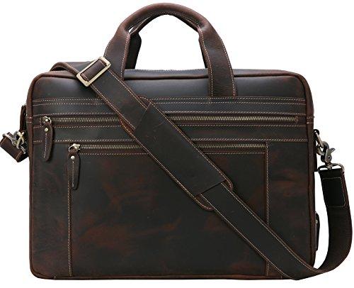 - Iswee Messenger Bag for Men 17 inch Genuine Leather Briefcase Large Satchel Shoulder Bag Computer Laptop Bag (Dark Brown)