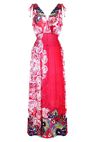 G2 Chic Women's Printed Spring-Summer Maxi Dresss(DRS-MAX,REDA4-4X)