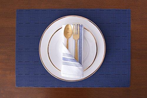 Value Basics Herringbone Stripe Kitchen Towel Set, 15'' x 25'', 14-Pack, Blue & White by Value Basics (Image #6)