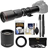 Vivitar 500mm f/8.0 Telephoto Lens with 2x Teleconverter (=1000mm) + Monopod + 3 Filters Kit for Pentax K-01, K-5 II IIs, K-7, K-30, K-50 Cameras