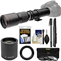 Vivitar 500mm f/8.0 Telephoto Lens with 2x Teleconverter (=1000mm) + Monopod + 3 Filters Kit for Nikon D3200, D3300, D5300, D5500, D7100, D7200, D750 Camera