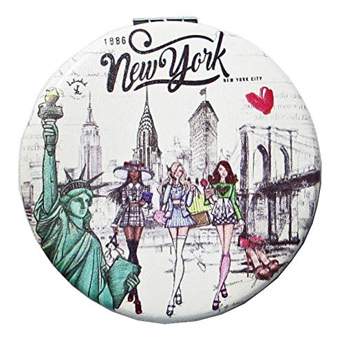 New York Souvenir Cosmetic Compact Stainless Steel Metal Leather Wrapped Mirror