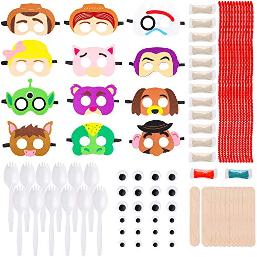 MALLMALL6 24 Sets Toy 4th Masks Fork DIY Figure Toys Birthday Party Favors Pack Toy 4 Theme Party Supplies Dress Up Costumes Art Crafts Woody Buzz Lightyear Bo Peep Jessie Party Games for Kids (Games Toy Party Story)