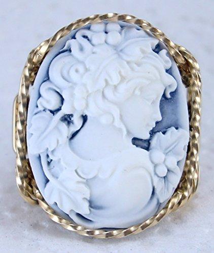 14k Gold Cameo Ring - Blue Grecian Goddess Grapes Large Cameo 14k Gold Filled Ring