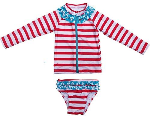 Splash Long Sleeve Rash Guard - SwimZip Little Girl Long Sleeve Rash Guard Zip Swimsuit Set UPF 50+ Splish Splash Coral 5T