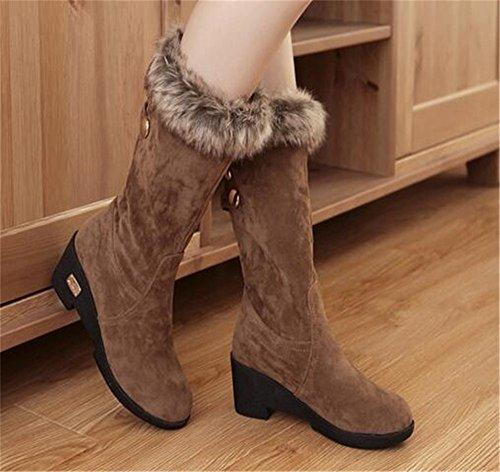 HAPPYLIVE SHOPPING Womens Winter Warm Fashion Nubuck Thick Rabbit Hair Platform Mid Chunky Heel Cold Weather Snow Boots Yellow 7GTecUf
