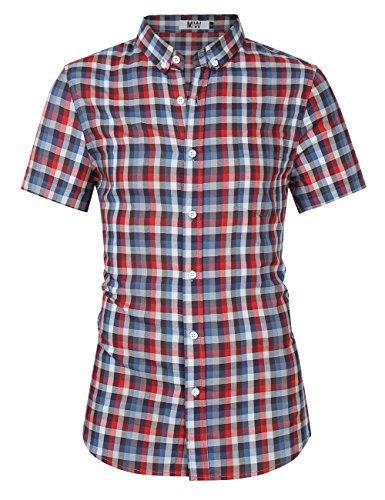MrWonder Men's Casual Slim Fit Long Sleeve Button Down Shirts Plaid Twill Shirt (S, Red Grey) ()