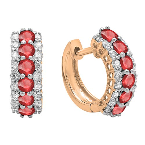 Dazzlingrock Collection 10K Round Ruby & White Diamond Ladies Huggies Hoop Earrings, Rose Gold