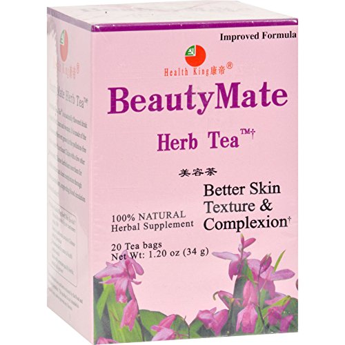 Health King BeautyMate Herb Tea - 20 Tea Bags - 100% Natural - For Better Skin Texture and (Beautymate Tea)