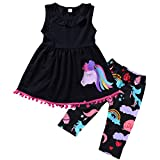 Puseky Baby Toddler Girl Pony Sleeveless Ruffle Shirt Dress+Cropped Pants Outfit Set