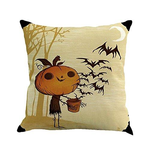 GREFER Pillow Cases Linen Sofa Cushion Cover Home Decor Happy Halloween -
