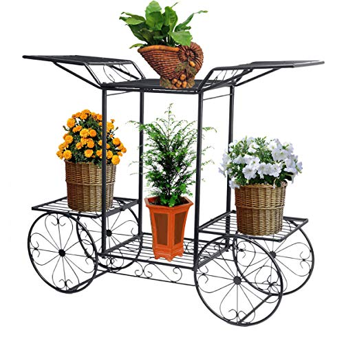 Dazone® Metal Cart Flower Rack Display Garden Tree Home Decor Patio Plant Stand Holder (Black)