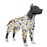 LovinPet Large Dog Clothes Post Surgery Wear Pet Shirts Cotton Dinosaur Dog Pajamas Soft Dog Shirt for Pitbull Labrador Retriever Boxer (Please Read Description)