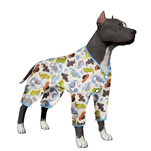 Dog Breed Pajamas - LovinPet Large Dog Clothes Post Surgery Wear Pet Shirts Cotton Dinosaur Dog Pajamas Soft Dog Shirt for Pitbull Labrador Retriever Boxer (Please Read Description)