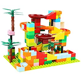 Auch 118Pcs Big Bricks Marble Run Building Blocks Construction Toys Set Compatible with All Major Brands Race Track for Kids Marble Roller Coaster