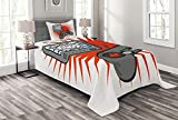 Lunarable Games Bedspread Set Twin Size, Kids Video Games Themed Design in Retro Style Gamepad Console Entertainment, Decorative Quilted 2 Piece Coverlet Set with Pillow Sham, Orange White