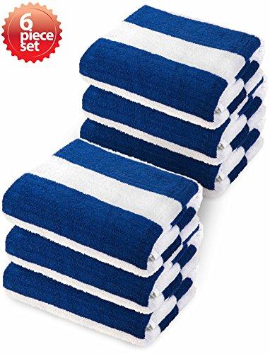 Beach Cabana Lounge - Premium Super Absorbent Classic Cabana Blue Stripe Beach Towel Oversize 30