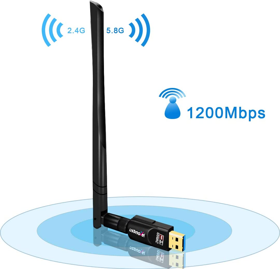USB WiFi Adapter 1200Mbps,USB 3.0 Wireless Network WiFi Dongle with 5dBi External Antenna for PC/Desktop/Laptop/Mac, Dual Band 2.4G/5G,Support Windows 10/8/8.1/7/Vista/XP/2000, Mac10.6-10.15