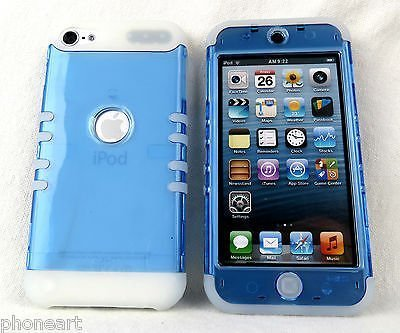 iPod Touch 5 Case, iPod 6 Case iTouch 5th & 6th Gen Cover Hybrid Heavy Duty Shock Resistant Silicon Skin & Hard Shell (Glow in Dark Trans Blue)