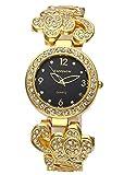 Top Plaza Women Golden Rhinestone Flower Metal Dress Bracelet Watch Black Face Analog Quartz Wristwatch