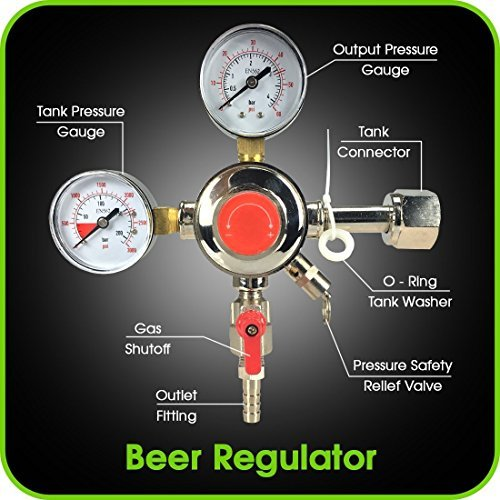 Co2 Beer Regulator Dual Gauge Draft Beer Dispensing Kegerator Heavy Duty 0 to 60 PSI - 0 to 3000 Tank Pressure CGA-320 Inlet Connection with 3/8'' O.D. Outlet Barb Features Safety Pressure Relief Valve by MOD Complete