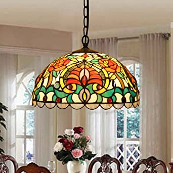 Tiffany Stained Glass Retro Dining Room Den Aisle Bar Club Cafe Art Chandelier