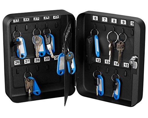 AdirOffice Key Steel Security Cabinet Box (30 Keys, Key Lock) (Black) - Security Key Cabinets
