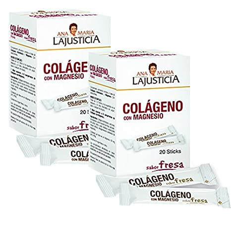COLÁGENO CON MAGNESIO SABOR A FRESA 2 x 20 Sticks Ana Maria Lajusticia: Amazon.es: Salud y cuidado personal