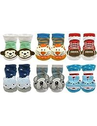 Cute 3D Cartoon Anti-Skid Baby Booties Sock Slipper Shoes (Set of 6)