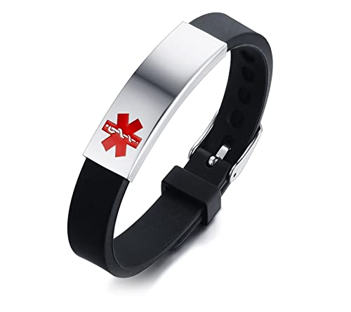 VNOX Stainless Steel Customization Personalized Medical Alert ID Adjustable Silicon Cuff Bracelet,Free Engraved
