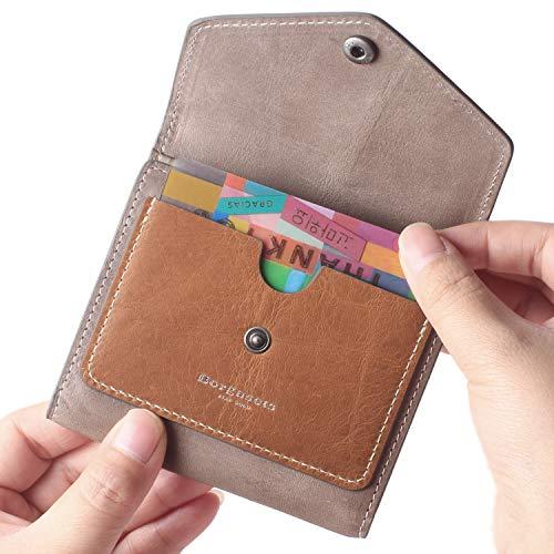 Borgasets Women's RFID Blocking Small Compact Bifold Leather Pocket Wallet Ladies Mini Purse (Gray)