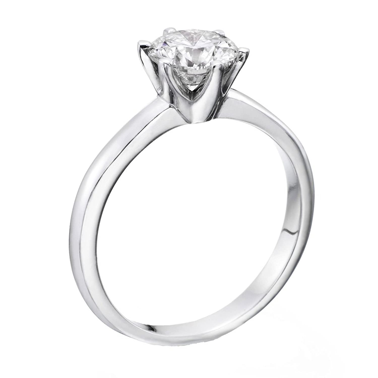 050 Carat Round Diamond Solitaire Engagement Ring In 18k Whitegold Ef  I1i2: Natural Diamond: Amazon: Jewellery