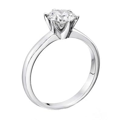 0.50 Carat Round Diamond Solitaire Engagement Ring in 18k white-gold EF  I1-I2  Natural Diamond  Amazon.co.uk  Jewellery 149014c03