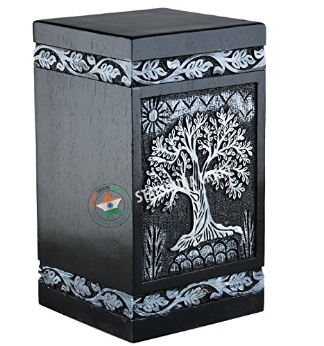 STAR INDIA CRAFT Tree of Life Urns for Human Ashes Adult, Rosewood Cremation Urns for Ashes, Wood Funeral Urn-s Box, A Perfect Burial Urn-s (11.25 x 6.25 x 6.25) | 250 Cu/in (White on Black)