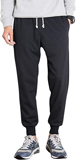 Yeokou Mens Loose Fit Elastic Waist Closed-Bottom Lined Pants Trousers