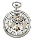 Gotham Men's Silver-Tone 17 Jewel Mechanical Skeleton Pocket Watch # GWC14069S