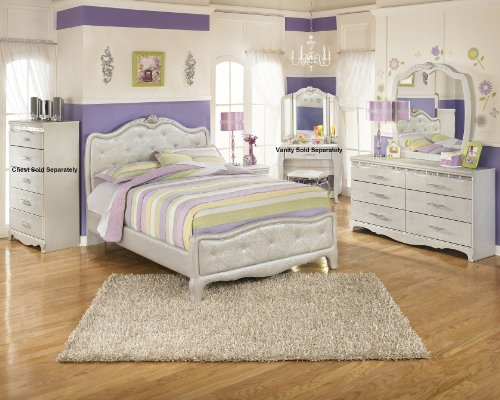 Julia Silver and Pearl Girl's Full Size Bedroom Set , Bed Dresser Mirror Night Stand by FurnitureMaxx