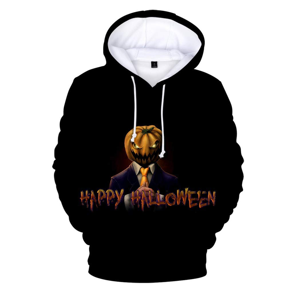 charmsamx Men's Sweatshirt Halloween Series Printed Hoodie Long Sleeve Hooded Sweatshirt Horror Pullover Sweatshirts (Black, XXL) by charmsamx